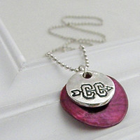 Cross Country Necklace - Hand Stamped Silver with Shell Pendant on Etsy