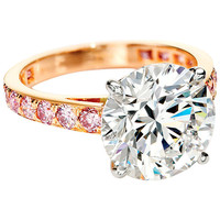 5.02 Carat Round Brilliant Cut Solitaire Diamond and Pink Diamond Ring