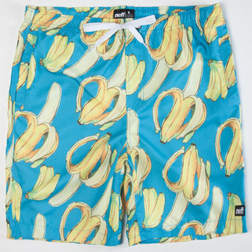 Neff Going Bananas Mens Hot Tub Volley Shorts Blue  In Sizes