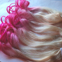 Hot Pink and Blonde Ombre Fade Dip Dye Clip in by damnationhair