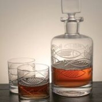 GO FISH Decanter and 4 On the Rock Glasses