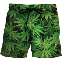 Green Leaves CannaShorts - Cannabis Athletic Shorts
