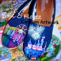 Disneyland Sleeping Beauty Castle and World of Color Themed Custom painted Disney TOMS Wearable art