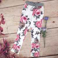 Strappy Retro Flower Print Casual Pants Trousers