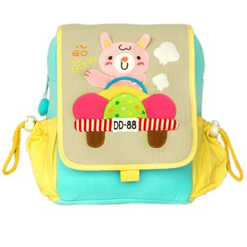 Cute Bear Embroidered Applique Kids Fabric Art School Backpack / Outdoor Backpack in 7.1*8.7*2.6