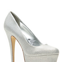 Anne Michelle Shimmery Silver Almond Toe Pumps