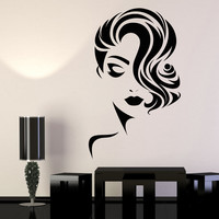 Vinyl Wall Decal Girl Face Beauty Salon Fashion Model Barbershop Stickers Unique Gift (1151ig)