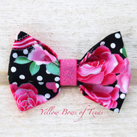 Bright Pink Rose Bow, Bright Pink Hair Bow, Valentine Bow, Pink Baby Hair Bow, Black Polka Dot Bow, Retro Hair Bow For All Ages, Floral Bow