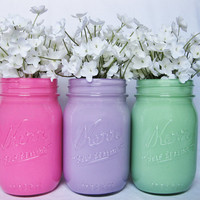 Pastel Painted Mason Jar Set: Light Pink, Light Purple, and Mint