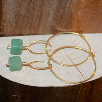 Gold Hoop Earrings with Aventurine Square Drops, You Pick - 14k Gold Filled Hoops Earrings, Silver Hoop Earrings, Brass Hoop Earrings