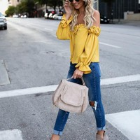Yellow Backless Drawstring Ruffle Off Shoulder Ruched Balloon Sleeve Going out Sweet Blouse
