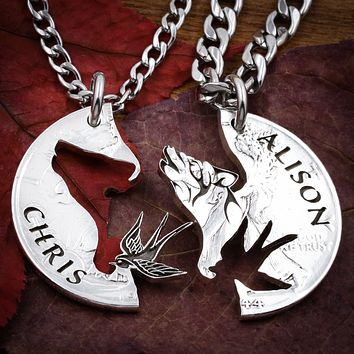 Howling Wolf and Scissor-Tail Bird Necklaces