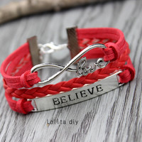 Love gift - infinite love and believe in bracelet - woven alloy bracelet - the best Christmas gift friendship, bridesmaid gifts