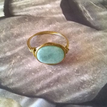 natural Amazonite ring artisan wire wrapped stone ring blue gemstone crystal jewelry silver or gold VIrgo August September Birthstone