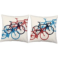 Bicycle Race Throw Pillows
