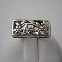Sterling Silver 925 Filigree Flower Vine Ring Size 6