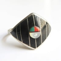 Vintage Zuni Onyx Inlay Ring, Sterling Silver Signed Native American Ring Size 7