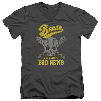 The Bad News Bears Slim Fit V-Neck T-Shirt Always Bad Skull Charcoal Tee