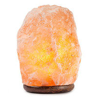 Hemingweigh Himalayan Glow Hand Carved Natural Crystal Himalayan Salt Lamp With Genuine Wood Base, Bulb And Dimmer Control 6 to 8 Inch, 6 to 7 lbs. 5' UL listed cord
