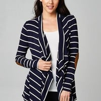 Women's Striped Cardigan with Elbow Patches