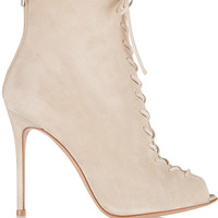 Gianvito Rossi - Lace-up suede ankle boots