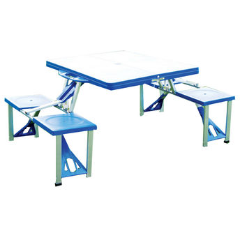 outdoor plastic siamesed folded table and chair aluminium alloy wooden folded table and chair portable picnik siamesed table