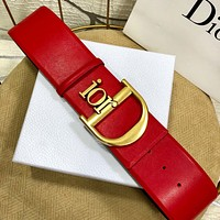 Dior simple retro women's letter buckle belt red