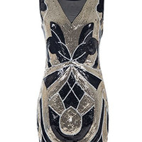 Emust Women's 1920s Vintage Paisley Art Deco Sequined Flapper Gatsby Dress