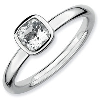 Cushion Cut White Topaz Stackable Ring