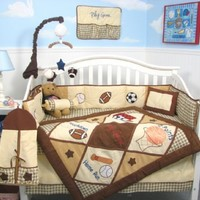 SoHo Let's Play Game Baby Crib Nursery Bedding Set 13 pcs included Diaper Bag with Changing Pad & Bottle Case