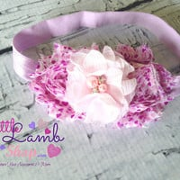 Love Pink Shabby Chic Baby Headband, Lavender Hearts Infant Newborn Girl Hair Band, Flower Girl Head Band, Photography Prop, Canada