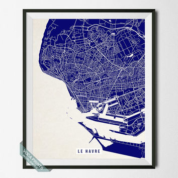 Le Havre Print, France Poster, Le Havre Street Map, France Map Print, Normandy Region, Dorm Decor, Home Art, Office Decor, Back To School