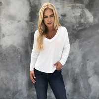 Nakita Basic Long Sleeve Top in White