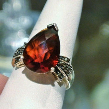 Garnet Marcasite Ring Sterling Silver Ring HUGE 5.8 CT Solitaire Faceted Pear  1980s Art Deco Revival Size 6 Six Ring  January Birthstone