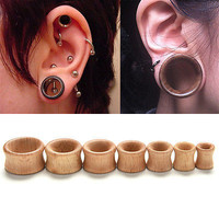 Organic Wood Hollow Double Flared Ear Plugs Tunnels Expander Stretcher Gauge 3C