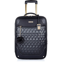 Black quilted wheelie suitcase - make up bags / luggage - bags / purses - women