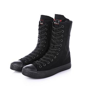 Women Canvas Boots  Spring Autumn Flat Shoes Woman Mid-Calf Boot Round Toe Lace-up Zipper Boot Woman Casual Boots