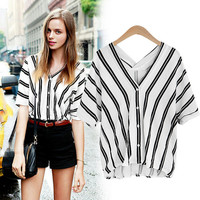 Bat Sleeve Stripe Loose Cotton V Neck Blouse  11902