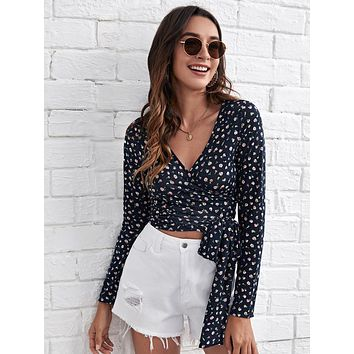 SHEIN Ditsy Floral Print Wrap Knot Top