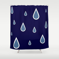 Navy Blue Raindrop Shower Curtain by Colorful Art | Society6