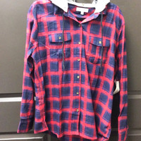 Plus Red & Navy Flannel Jacket