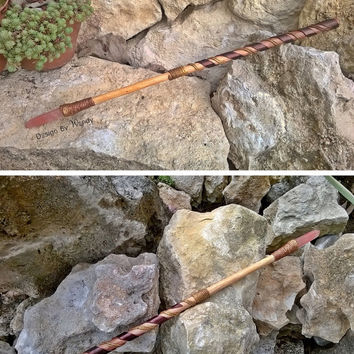 Wiccan Wand, Willow Wand with Rose Quartz Crystal, Pagan Wand, Rose Quartz Wand, Magick Wand Ritual Tools, Magickal Tools, Wicca Wand