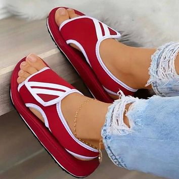 Summer new style Velcro sports wind sandals casual fashion large size slippers shoes