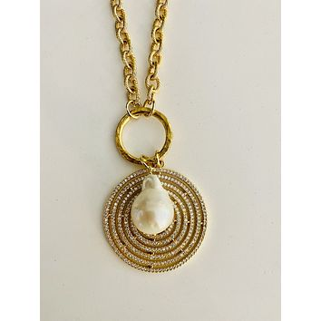 BAROQUE PEARL CZ ROUND REVERSIBLE PENDANT NECKLACE