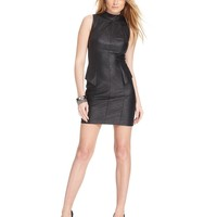 GUESS Faux-Leather Peplum Dress