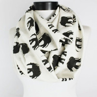 white elephant scarf,infinity scarf, scarf, scarves, long scarf, loop scarf, gift