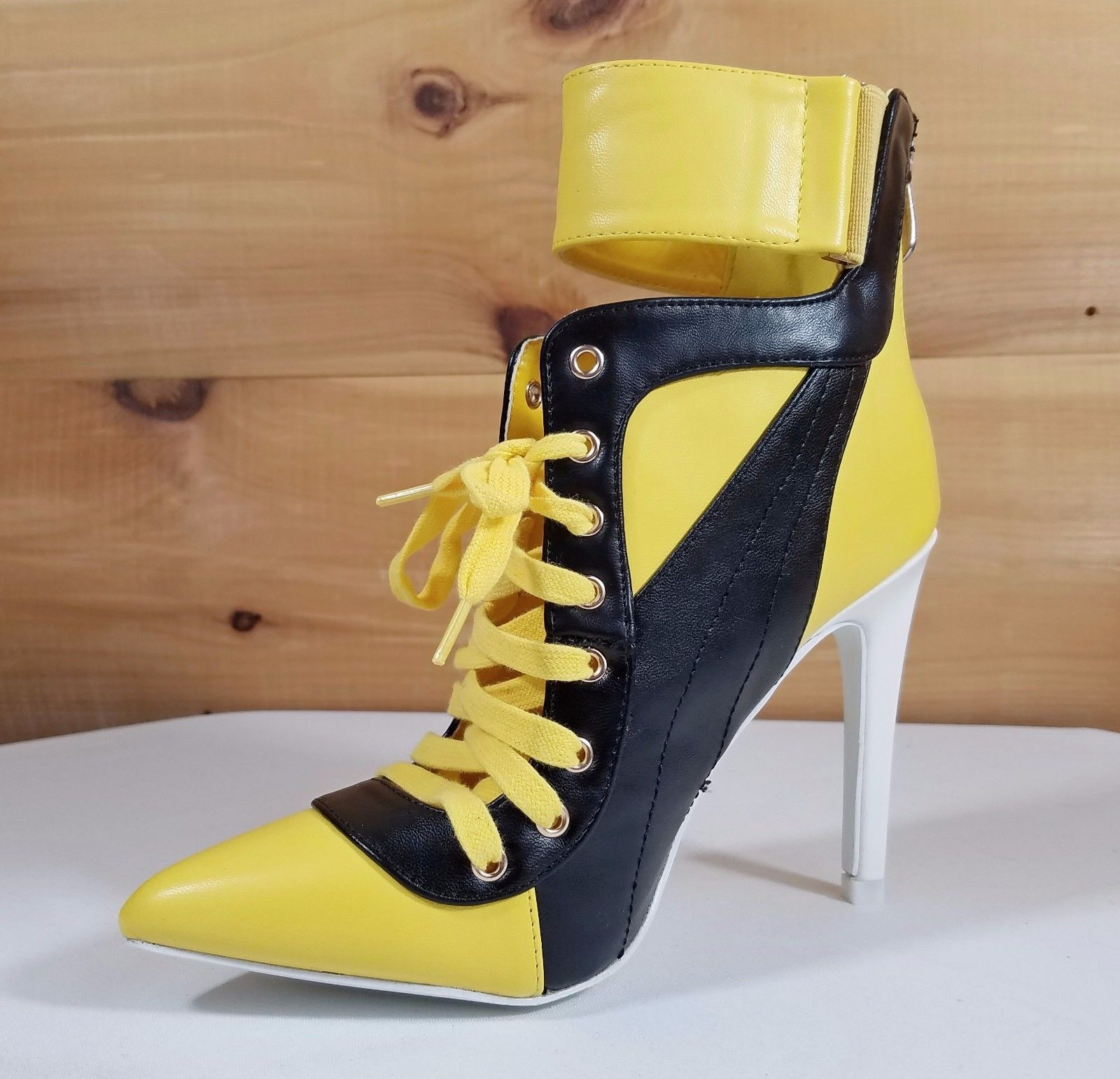 """Image of CR Yellow Black Pointy Toe Lace Up Sporty 4.5"""" High Heel Ankle Boots"""
