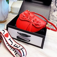 Dior saddle bag Campagin small fresh mature sexy floral bag Flower Shoulder Bag Red