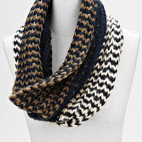 Ombre Two Toned infinity Knitted Fashion Scarf Navy Blue Gold