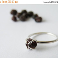 Raw Garnet Solitaire Ring Sterling Silver 4 Prongs Setting January Birthstone Jewelry Natural Organic Stone Ring by SteamyLab